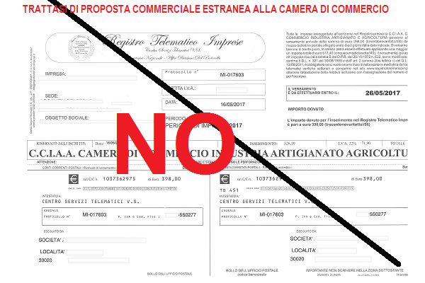 Richiesta estranea alla Camera di Commercio